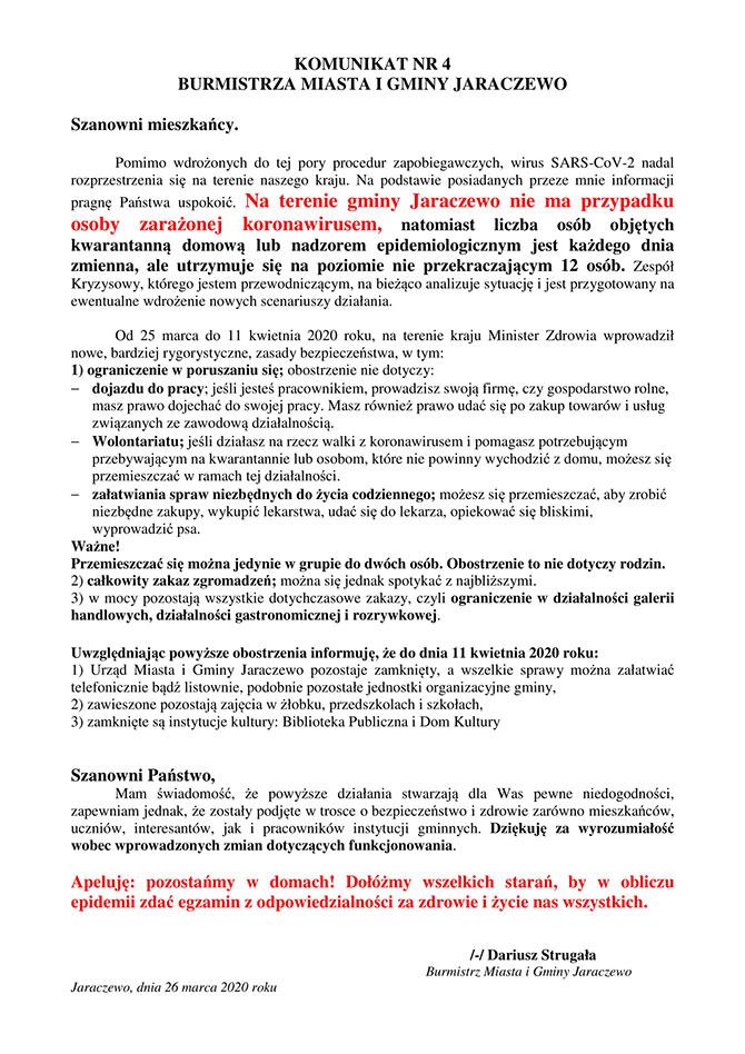 Komunikat Burmistrza Miasta i Gminy Jaraczewo